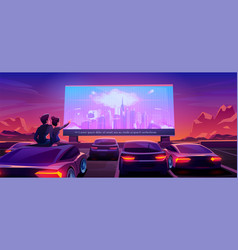 Couple at car cinema dating in drive-in theater vector