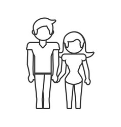 couple loving together outline vector image