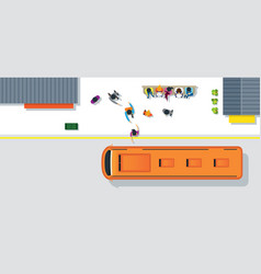 crowd of people waiting and getting on bus vector image