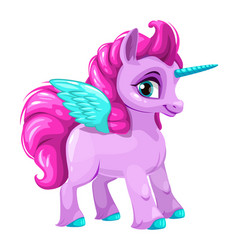 Cute cartoon pegasus icon vector