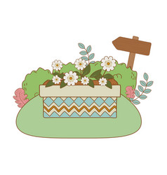 cute flowers and leafs in pot landscape scene vector image