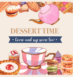 Dessert frame design with teapot cup pie cupcake vector