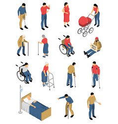 Disabled people isometric icons vector