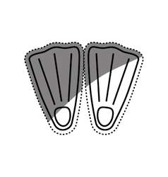 Diving fins isolated vector