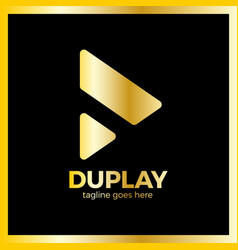 double triangle media play vector image