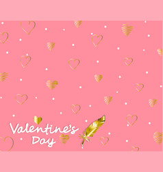 elegant card valentines day with pink heart vector image