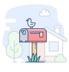 empty mailbox line vector image