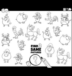 Find two same farm animals task coloring book page vector