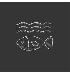 Fish under water Drawn in chalk icon vector