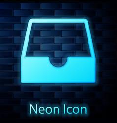 Glowing neon social media inbox icon isolated vector