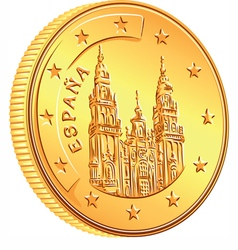 Gold money spanish coin euro vector