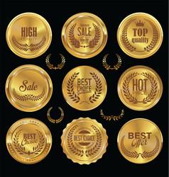 golden badge retro vintage sale collection vector image