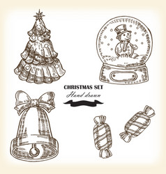 Hand drawn christmas set christmas design element vector