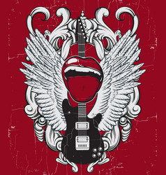 Hand drawn of guitar mouth wings and frame vector