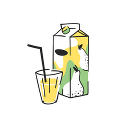 hand drawn summer set of juice pack and glass vector image
