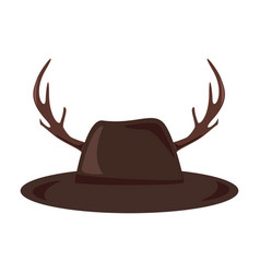 hat with antlers icon hipster style concept vector image