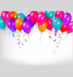 Horizontal line border of shiny colorful balloons vector