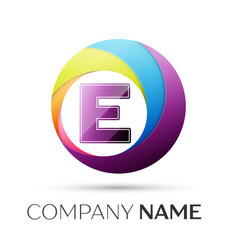 letter e logo symbol in the colorful circle on vector image