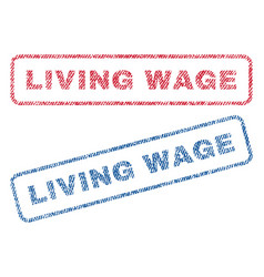 Living wage textile stamps vector