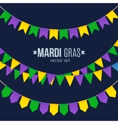 Mardi Gras traditional flags set isolated on dark vector image