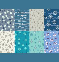 marine patterns navy anchor blue sea texture vector image