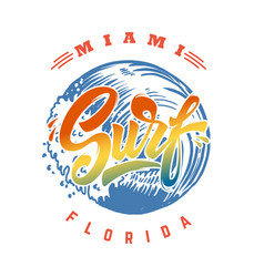 miami surf emblem template with waves and palms vector image