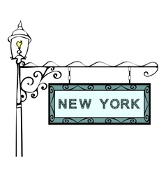 New York retro pointer lamppost vector