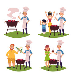 People make bbq barbeque cook meat on grill vector