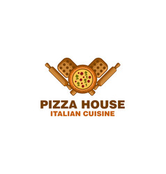 pizza wood plate rolling pin logo designs vector image