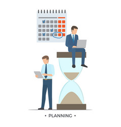 planning calendar and men vector image