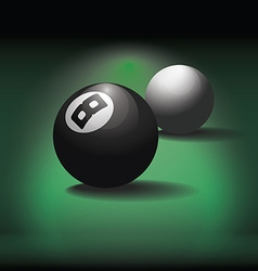 Pool balls on green table background vector image