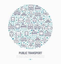 Public transport concept in circle vector