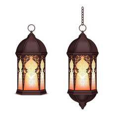 Realistic ramadan lanterns set vector