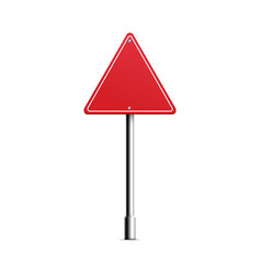 Realistic red triangle road sign on metal pole vector