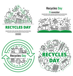 Recycles day banner set outline style vector