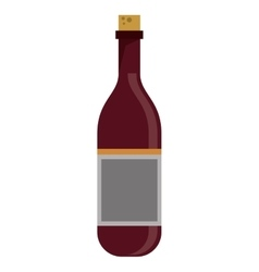 red wine bottle with cork empty label vector image