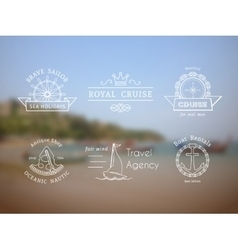 retro nautical logo templates vector image