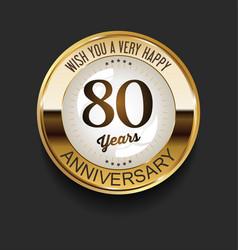 retro vintage style anniversary golden design 80 vector image