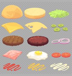 Sandwich burger cheeseburger food ingredients vector