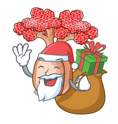 Santa with gift bottle shaped tree on a cartoon vector