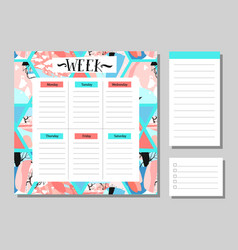 scandinavian weekly and daily planner template vector image