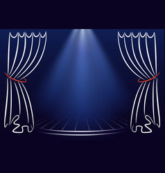 scene with curtains and spotlights announcement vector image