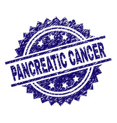 Scratched textured pancreatic cancer stamp seal vector
