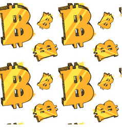 seamless pattern glowing bitcoins on white vector image