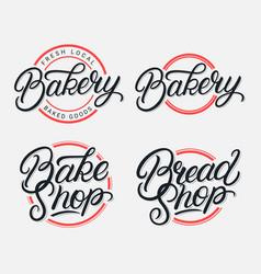 Set bakery bake shop and bread shop logo vector