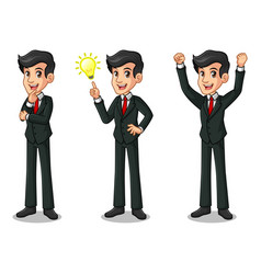 Set of businessman in black suit getting ideas vector