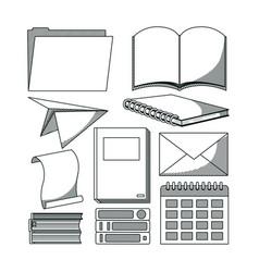 set of doodle school utensils vector image