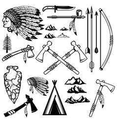 Set of native americans weapon mountains icons vector