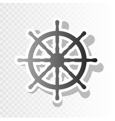 Ship wheel sign new year blackish icon on vector