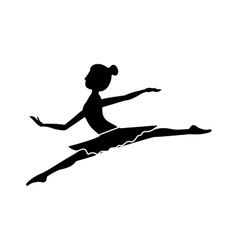 silhouette with dancer position small spears vector image
